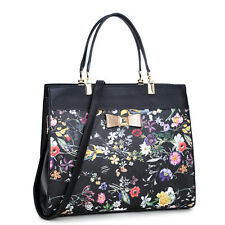 New Womens Handbags Leather Satchels Tote Bag Shoulder Bags Flowery Bow Purse