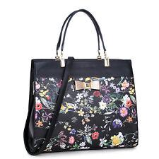 New Dasein Leather Briefcase Satchel  Handbag Shoulder Bag Purse w/ Flowery Bow