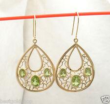 Technibond Genuine Emerald Gemstone Dangle Earrings 14K Yellow Clad Silver