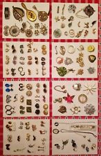 Antique & Vintage Costume Jewelry Lot 100+ Sets/Pieces Brooches Earrings