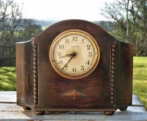 1930s oak mantle clock wind up & working needs tlc