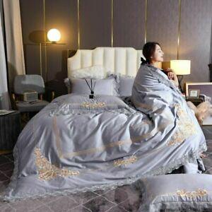 Embroidery Bedlinen Blue Bedding Sets Egyptian Cotton Duvet Cover Bed Sheet Set