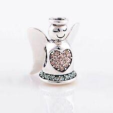ANGEL w HALO, PINK HEART & GREEN BASE .925 Sterling Silver European Charm Bead