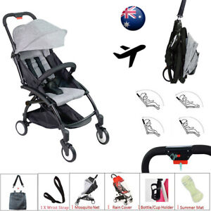Grey Compact Lightweight Baby Stroller Pram Easy Fold Travel Carry on Plane 2020