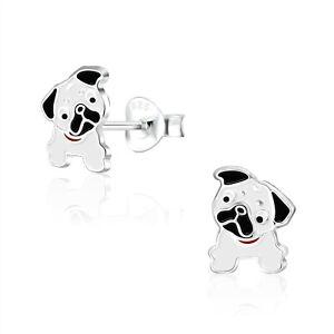 925 Sterling Silver Black White Pug Dog Enamel Stud Earrings Kids Girls Cute