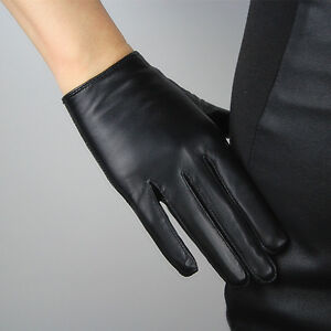 TECH GLOVES Real Leather Short Black Genuine Lambskin Sheepskin Touchscreen