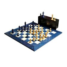 "The Grandmaster Chess Set, Box, & Board Combination - 4"" King - Blue Gilded"