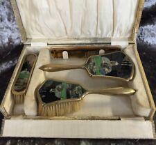 Rare Art Deco Pierrot Clown & Ballerina Dressing Table Vanity Set Mirror Brush
