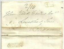 * 1830 incorniciato Teignmouth PENNY POST & No 1 R / H Maria thorold lettera ex Torquay
