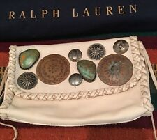 RALPH LAUREN COLLECTION Rare Handmade Leather Western Metal Clovos Stone NEW Bag