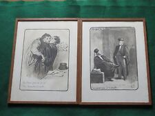 Honore Daumier Caricatures Two Prints Signed and Numbered, Framed & Matted