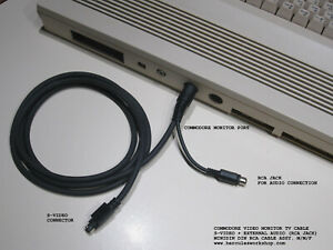 6' Commodore Video Monitor TV Cable (S-Video + RCA Audio) C-64 / C-128 (8-PIN)
