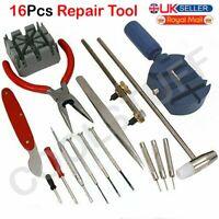 16 Pcs Watch Screwdriver Repair Tool Kit Band Strap Link Remover Back Opener UK