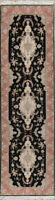 "New Wool & Silk Floral Black Runner Taabriz Oriental Rug 10' 5"" x 2' 11"""