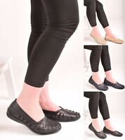 Ladies Womens Comfy Slip On Low Heel Casual Walking Flat Pumps. Shoes Size 3-8.
