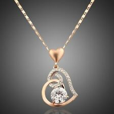 Crystal Love Heart Pendant Necklace(N150-16) 18K Gold Plated Made W/Swarovski