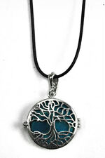 Pendant Caged Turquoise Tree Of Life On 1.5mm Black Wax Cord