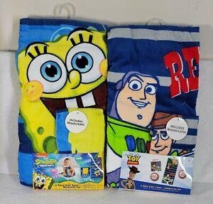 Spongebob Squarepants & Toy Story - 2 Piece Set Bath Towel + Washcloth ☆BUNDLE☆