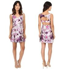 NWT Adrianna Papell purple floral open cutout back jacquard sleeveless dress 12