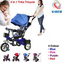 Smart Baby Kids Ride on Trike Tricycle 4 In 1 Bike 3 Wheels Canopy + Rain Cover