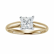 Simulate.50ct Square Princess Diamond Solitaire Engagement 14k Yellow Gold Ring