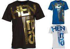 Mens Henleys Fleek T-Shirt Foil Graphic Print Casual Short Sleeve Crew Neck S XL