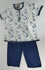 Damen Pyjama Set Nachtwäsche Kurzarm Nachtanzug Hose Schlafwäsche N2090 Blau