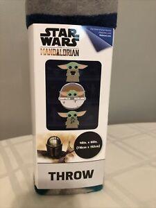 "Star Wars: The Mandalorian 'The Child' Baby Yoda 46"" x 60"" Plush Throw NEW"