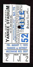 1970 Detroit Tigers vs New York Yankees TICKET STUB Nite Game