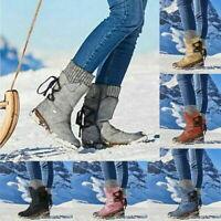 Damen Stiefeletten Winterschuhe Schnür Boots Schlupfstiefel Warm Schneestiefel