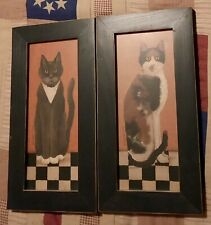 """Country Cat Set Of 2 Calico Cat And Black/White Cat wall art Cindy Sampson"