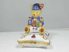 Rare Large Limoges Toy Bear Seated On A Pillow Trinket Box