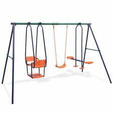 vidaXL Swing Set with 5 Seats Orange Outdoor Children Activity Playset Frame