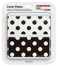 Nintendo 3DS Black and White Cover Plate Set * Polka Dots Free Postage * NEW *