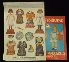 Two Vintage Antique Embossed Cut-Out Paper Dolls & Costumes