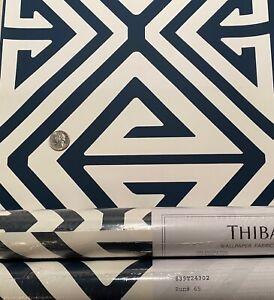 2 DBL Rolls THIBAUT T24302 Demetrius Navy Geometric Linear Wallpaper