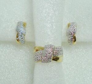 Ross Simons Ring Earrings Set Cross Over Gold Vermeil on Sterling Silver Size 9
