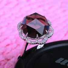 7.8ct Natural Smokey Quartz Diamonds Engagement Solid 14K White Gold Fine Ring