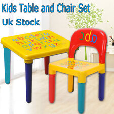Super Bright ABC Alphabet Kids Childrens Plastic Table and Chair Set Non-toxic