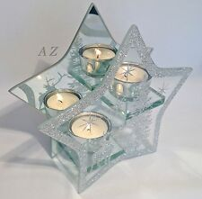 SILVER GLITTER 2 TEA LIGHT GLASS CANDLE HOLDER CHRISTMAS GIFT HOME ORNAMENT NEW
