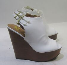 "new White 6""high wedge heel 2""platform open toe   sexy shoes Size  7"