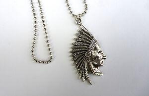 Anhänger Halsband Indianer Kette native Schmuck Choker Metall silbern Häuptling