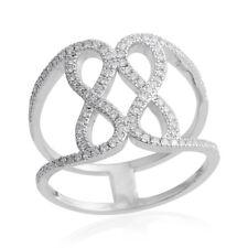 WHITE SIMULATED DIAMOND OPEN FRAMEWORK SILVER TONE BAND RING SIZE 7.25 STATEMENT