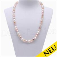 NEU 🌸 Halskette 8-9 mm PERLEN Collier Echte Süsswasser Perlenkette 🌸 44 cm