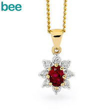 Cluster Ruby & Diamond 9ct 9k Solid Yellow Gold Pendant 62903/CR