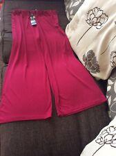 Joanna Hope Slinky Wide Leg Trousers Raspberry Size 16 27 Inch Inside Leg