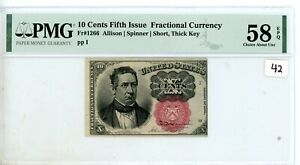 FR.1266 10 CENT FIFTH ISSUE FRACTIONAL PMG CERTIFIED  Chc AU 58 # 42