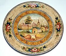 Vtg Italy Signed Pottery Hand Painted Decorative Plate Wall Hanging Artwork 12""