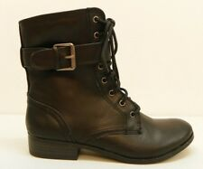 Style & Co Shoe Ricky Low Heel Ankle Boot Laced Booties Black Faux Leather 6M