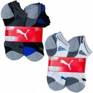 PUMA Men's Low-Cut Cushioned Socks Black 6-12 Size, 7 or 8 Pack